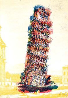 Pol Bury- Original lithograph by Pol Bury, a famous French artist from the Urban Art years. The lithograph is titled Leaning Tower, . Affordable Wall Art, Famous French, French Artists, Bury, Urban Art, Printmaking, Poster Prints, Posters, Print Patterns