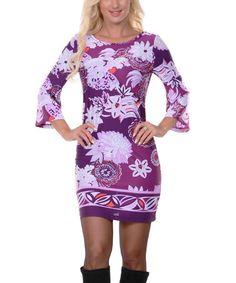 Love this Purple Floral Scoop Neck Dress on #zulily! #zulilyfinds