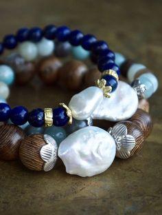 Bohemian bracelet set Boho chic Lapis Lazuli by ThePillowBook Etsy Jewelry, Jewelry Gifts, Jewelry Bracelets, Handmade Jewelry, Jewlery, Bohemian Bracelets, Bohemian Jewelry, Pearl Bracelet, Bracelet Set