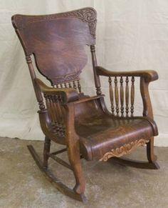 5204: Antique Tiger Oak Rocking Chair : Lot 5204