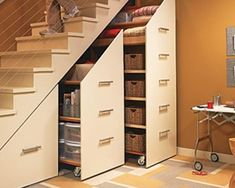 Diy Organizer, Small Space Storage, Storage Spaces, Storage Ideas, Book Storage, Storage Solutions, Space Under Stairs, Basement Paint Colors, Stair Makeover