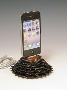 iPhone dock. iPod dock. Recycled bicycle gear and walnut. 136. A unique gift for a cyclist, gear head, or steampunk.