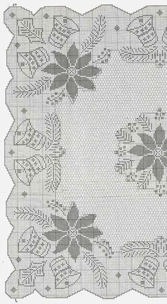 No automatic alt text available. Crochet Patterns Filet, Christmas Crochet Patterns, Holiday Crochet, Crochet Diagram, Doily Patterns, Crochet Home, Crochet Motif, Knit Crochet, Crochet Table Runner