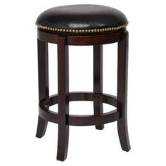 Half Polished Chrome//Dark Brown Maple Hillsdale 4688-827 Salem Backless Swivel Counter Stool