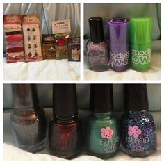 Part two of nail mail from Lisa! (This is actually old and I've received another nail mail from Lisa since this!). Top left is lots of wonderful jewelry supplies, right is Color Club Magic Attraction, Models Own Pukka Purple matte nail polish and Toxic Apple matte nail polish! Bottom is Sephora by OPI Studs and Stilettos, China Glaze Lubu Heels, and Island Girl Island Girl and Macadamia Nut!! Awesome!!!!