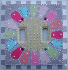 Switch Plate Hand Painted Double Toggle Light Switch Cover Art  Patchwork Daisy. $35.00, via Etsy.