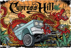 This is a poster created by Gregg Gordon / GIGART for the Fillmore in San Francisco for a show with Cypress Hill celebrating 420, on Sunday, April 20, 2008. This poster has everything a Cypress Hill fan would want in a poster. Size: 13 x 19 inch / Litho