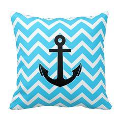 Aqua Blue Chevron Anchor Throw Pillows @zazzle