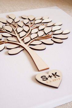 Custom wedding guest book alternative - 3D Wedding Tree Baby Shower Tree - wood rustic wedding guest book - Tree of Life - 60 leaves. $55,00, via Etsy.