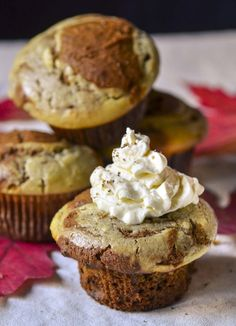 """Among all dozens if pumpkin recipes I've seen this season, this one truly sounds like the best. """"Pumpkin Muffins with Eggnog Cream Cheese Swirl~ OH YUM! Pumpkin Recipes, Fall Recipes, Holiday Recipes, Holiday Meals, Christmas Recipes, Thanksgiving Recipes, Sweet Recipes, Yummy Recipes, Vegan Recipes"""