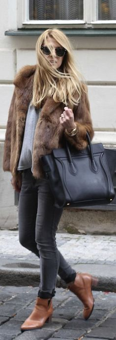 dark grey jeans, grey tee, camel fur coat,