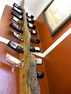 Cool DIY Wine Rack by Matthew Richter.  This would be an easy project, I would like to do one with mesquite, oak, and walnut.
