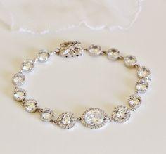 Bridal Bracelet Wedding Bracelet Oval and Round CZ Bracelet Halo Bracelet Bridal Jewelry Sterling Silver Formal Prom Bracelet