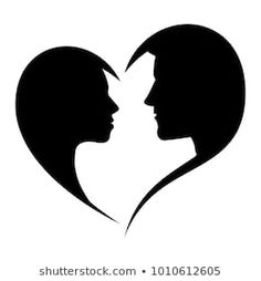 Silhouette of loving man and woman looking at each other in the heart-shaped frame, isolated on white background. Man And Woman Silhouette, Bride And Groom Silhouette, Couple Silhouette, Silhouette Images, Animal Silhouette, Love Wallpapers Romantic, Dont Touch My Phone Wallpapers, We Bare Bears Wallpapers, Art Drawings For Kids