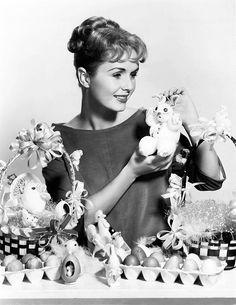 Debbie Reynolds putting together cute Easter baskets. #actresses #vintage #Easter