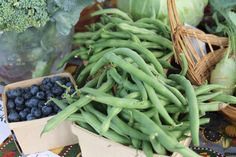 In Season In-diana -- Blueberries and Green Beans! Local farmers market.