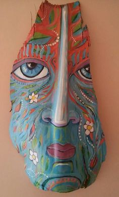 Blue Eyed Soul Reflection - Original Painting on Palm Bark Palm Frond Art, Palm Tree Art, Palm Fronds, Palm Trees Beach, Painted Driftwood, Driftwood Art, Tree Bark Crafts, Mask Painting, Pallet Painting