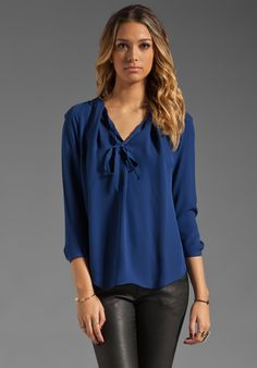 Halston Heritage Long Sleeve Silk Pleated Tie Neck Blouse in Indigo