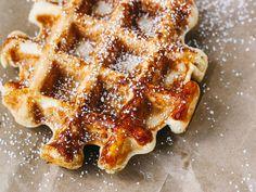 Banana and Pearl Sugar Belgian Waffles | Oh, Ladycakes