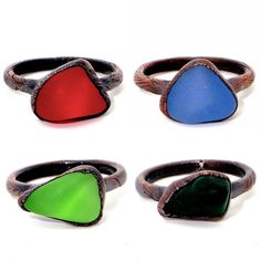 Beautiful colored sea glass copper rings. Unique handmade pieces, crafted by me in my home studio in Brisbane, Australia. Original gift idea. Ready