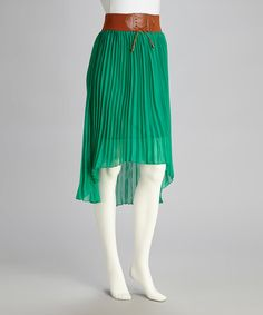 Take a look at this Green Pleated Hi-Low Skirt by Meetu Magic on #zulily today!