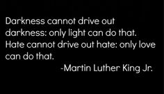 Darkness cannot drive out darkness: only light can do that.  Hate cannot drive out hate: only love can do that.  - Martin Luther King, Jr.  Quotes