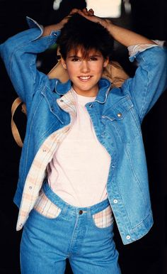 Uli Rose for Seventeen magazine, August 1985. Jacket and jeans by Brooke Shields Jeanswear.