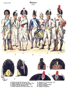 French; Line Infantry, 1791 regulations. 1.39th(Ile de France) Fusilier. 2.54th (Roussillon), Fusilier Corporal. 3.16th(Agenois) Senior Officer. 4.32nd(Bassigny), Grenadier. 5.9th(Normandie, Officier subalterne. & 6.47th(Lorraine), Drummer by L.Rousselot