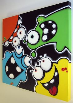 Ähnliche Artikel wie pEEkAbOO aLiENS – original painting on canvas auf Etsy Painting For Kids, House Painting, Art For Kids, Posca Art, Paint Party, Doodle Art, Easy Drawings, Oeuvre D'art, Art Projects