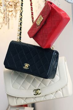 Chanel ~ Vintage Flap Bag with Shoulder Chain, Red, Black & White