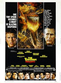 Oscar nominated THE TOWERING INFERNO movie review, starring Paul Newman, Faye Dunaway, William Holden, Steve McQueen!