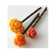 bobby pins, flower hair pins, bobby pins set, floral hair pin, rose hair pins, vintage style flower hairpins, orange flower