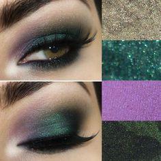Tutorial com sombra verde esmeralda, verde musgo e violeta