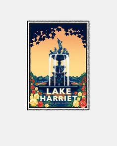 "Landmark Series ""Lake Harriet Rose Garden"" Minneapolis, MN by Graphic Artist, Mark Herman. Giclée print on matte paper, ready for framing."
