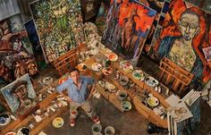 One of my favorite artists, Clive Barker, in his studio.  *Jealous*