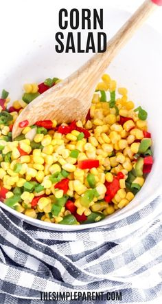 This creamy corn salad recipe is easy to make and is a perfect summer side dish! Make it with sour cream, mayo, and cheese! Corn Salad Recipe Easy, Corn Salad Recipes, Salad Recipes Video, Corn Salads, Chicken Salad Recipes, Summer Side Dishes, Side Dishes Easy, Side Dish Recipes, Easy Recipes