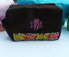 Great Graduation gift idea  monogrammed makeup bag brown cheetah cosmetic bag by Baileywicks, $16.00