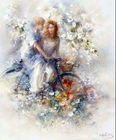Spring Canvas Art - Willem Haenraets x Illustration Photo, Illustrations, Art Triste, Bicycle Art, Sports Art, Art Themes, Oeuvre D'art, Diy Art, Fantasy Art