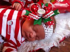 Babys first Christmas hair bow Perfect for The holiday season red white and green on Etsy, $6.50