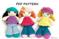 "Free+English+Crochet+Patterns+Amigurumi | Crochet Amigurumi Pattern - Instant download - Curly ""Joy"" Doll"