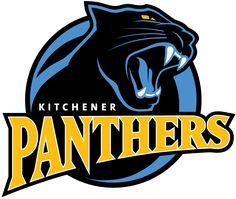 Kitchener Panthers Primary Logo (2000) - A black and blue panther on a blue circle, team name in yellow