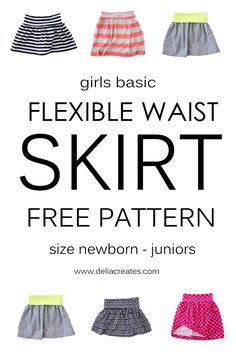 Sewing Machines FREE flexible waist skirt pattern - A free flexible waist skirt pattern from Delia Creates! Kids Patterns, Sewing Patterns Free, Free Sewing, Clothing Patterns, Free Pattern, Girls Skirt Patterns, Skirt Pattern Free, Pattern Sewing, Sewing Hacks