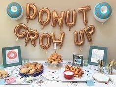 baby boy birthday party Donut Grow Up Gios Birthday Second Birthday Boys, Boys First Birthday Party Ideas, First Birthday Party Themes, Donut Birthday Parties, Birthday Themes For Boys, Baby 1st Birthday, Donut Party, Birthday Cakes, Birthday Bash