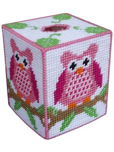 Plastic Canvas - Tissue Topper Patterns - Boutique-Style Patterns - Pink Owl on a Branch Tissue Box Cover