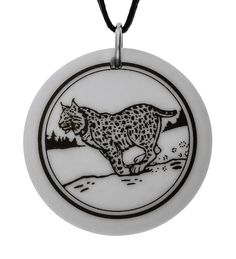 Handmade Bobcat Totem Round Porcelain Pendant (on Black Cord). Hand Made. Approx. Pendant size : 3.1 centimetre in diameter. Length of rayon cord : 30 inch / 91.4 cm. Weight of the pendant : 6 grams.