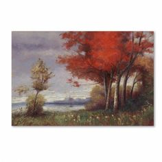 Trademark Fine Art Landscape with Red Trees Canvas Art by Daniel Moises, Size: 30 x 47, Multicolor