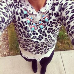 Leopard and polka dot print mixing - women's fashion