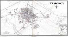 Plan of Timgad, Algeria. 1-Decumanus, 2-Cardo, 3-Forum, 4