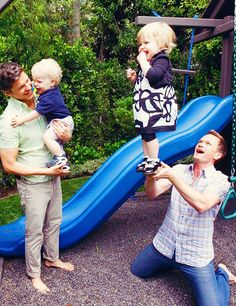 Neil Patrick Harris, his partner, David Burtka, and their twins. ADORABLE!