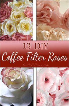 13 DIY Coffee Filter Roses!!!!!! Best roundup !! #roses #coffeefilter #paperflowers Coffee Filter Roses, Coffee Filter Art, Coffee Filter Crafts, Coffee Crafts, Coffee Filters, Coffee Filter Wreath, Faux Flowers, Diy Flowers, Fabric Flowers